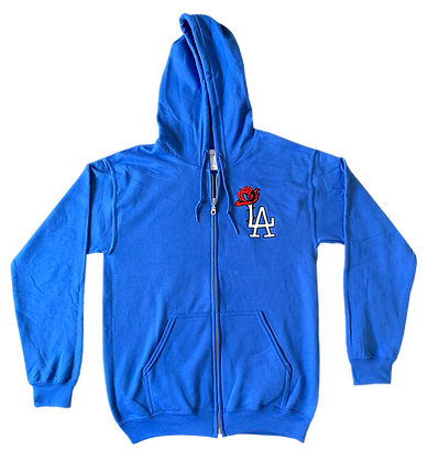Blue LA ROSE Zipper Hoodie