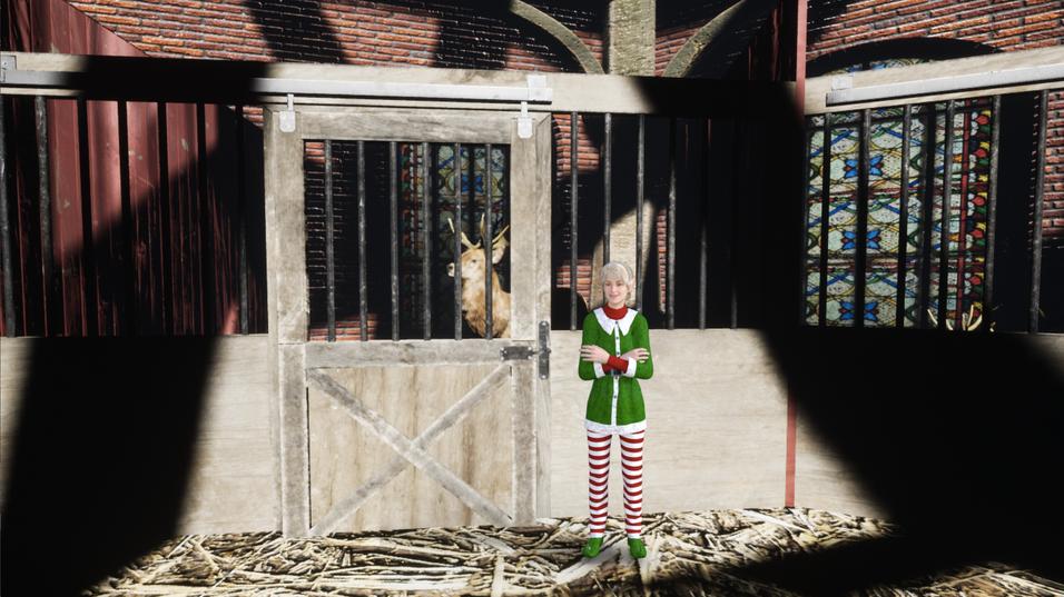 Elf Holly in the Reindeer Barn