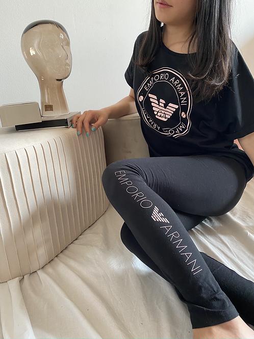 Armani Leggings Iconic Logoband - Nero\Rosa