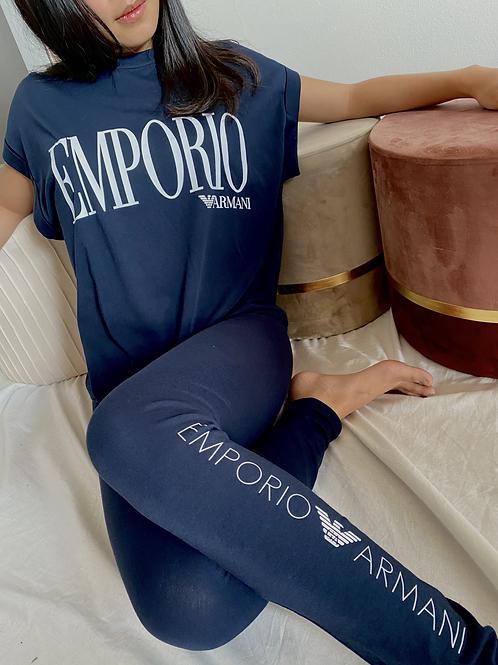 Armani T-Shirt Iconic Logo Lover - Blu\Bianco