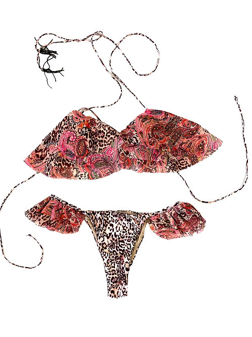 Costume Triangolo+Bras Voulant - Mantra - F**K - Leo\Rosa