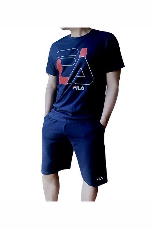 Fila T-Shirt + Pantaloni Corti Big Logo - Blu