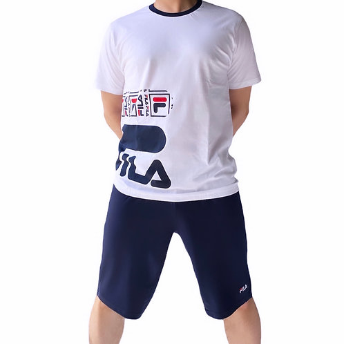 Fila T-Shirt + Pantaloni Corti Side Logo - Bianco\Blu