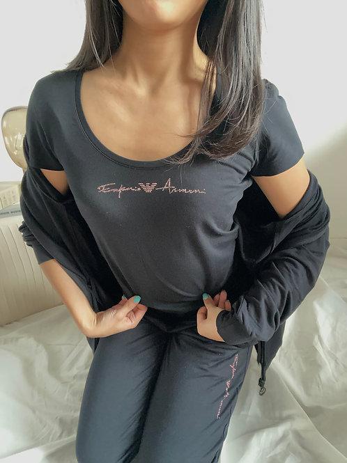 Armani T-Shirt Signature Logo - Nero