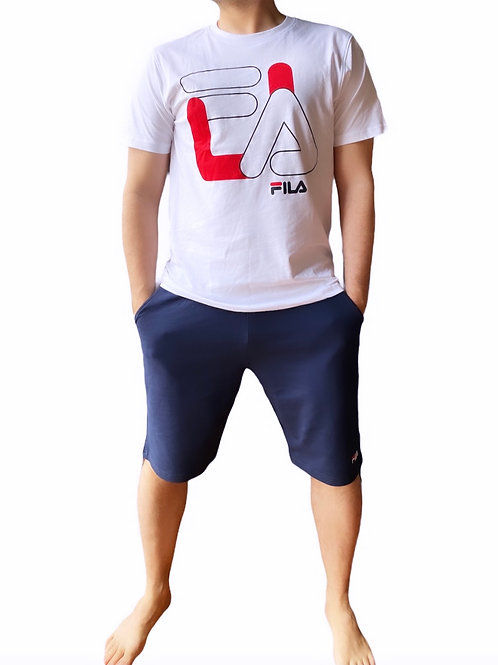 Fila T-Shirt + Pantaloni Corti Big Logo - Bianco\Blu