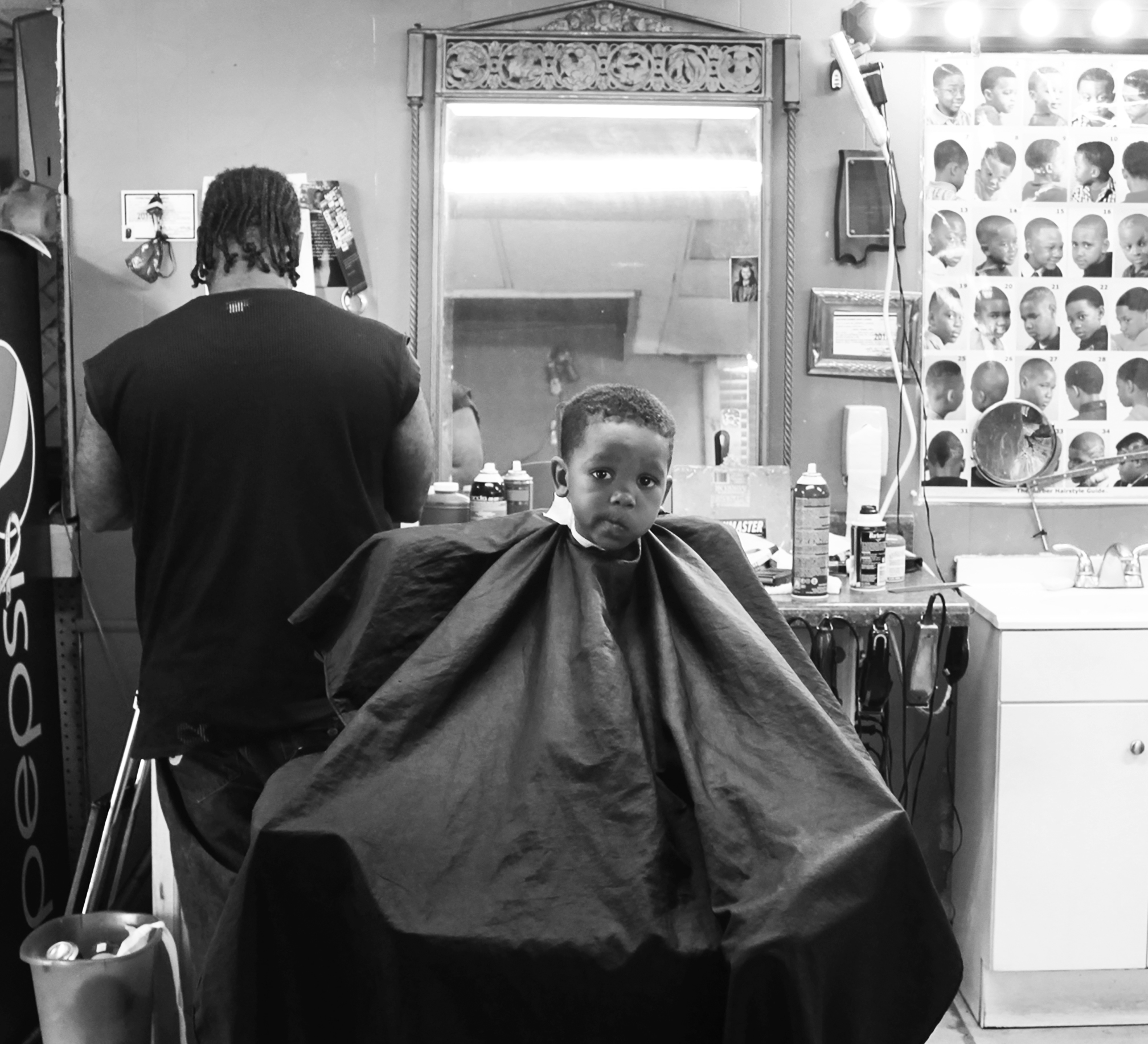 Boy in a barbershop
