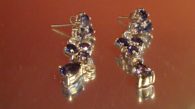 Silver Iolite Earrings For Women Bride Fine Jewellery Dangle Ladies For Wedding