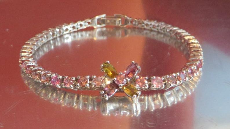 Sterling Silver Pink Tourmaline Tennis Bracelet Jewelry For Women