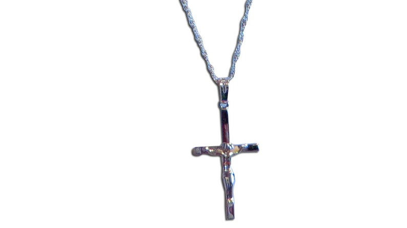 18k White Gold Chain With Cross Necklace For Women Crucifix Jewelry