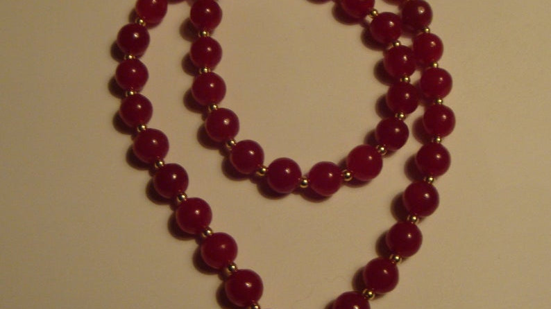 14k Gold Red Glass Bead Necklace Jewellery Statement Chunky for Women Her