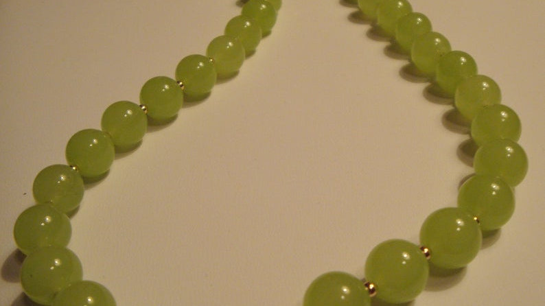 14k Gold Green Glass Bead Necklace Statement Chunky Jewelry for Women Her