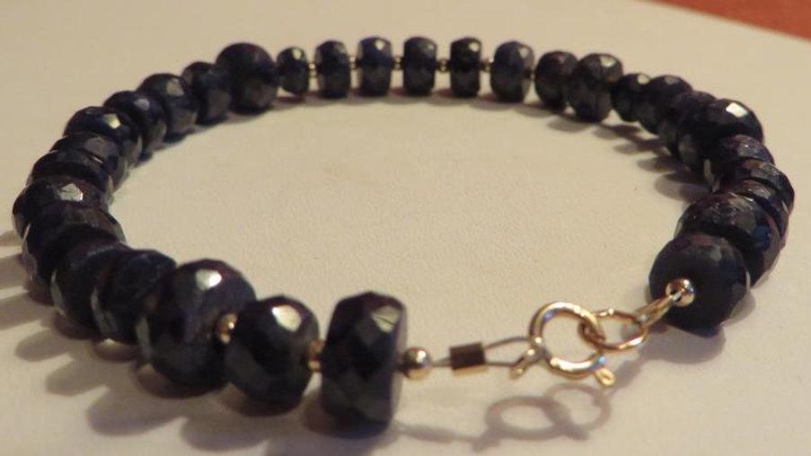 14k Yellow Gold and Natural Blue Sapphire Bracelet Healing Chakra Energy Stone