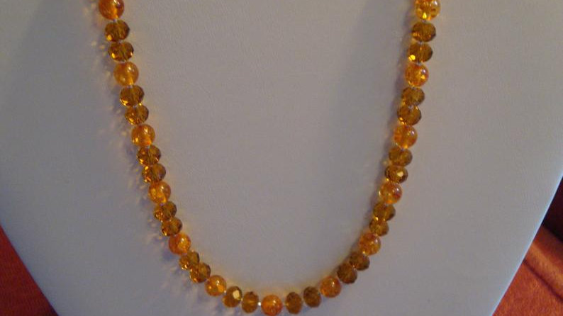 925 Sterling Silver Brown Crystal Necklace Amber Gemstone Real Beads For Women