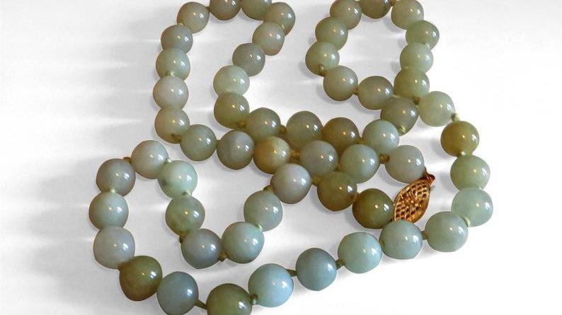 14k Gold Art Deco Chinese Jadeite Jade Necklace Green Antique Jewelry Vintage
