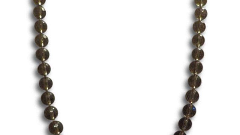 14k Gold Smoky Quartz Gemstone Necklace For Women Fine Jewelry Stone Beaded
