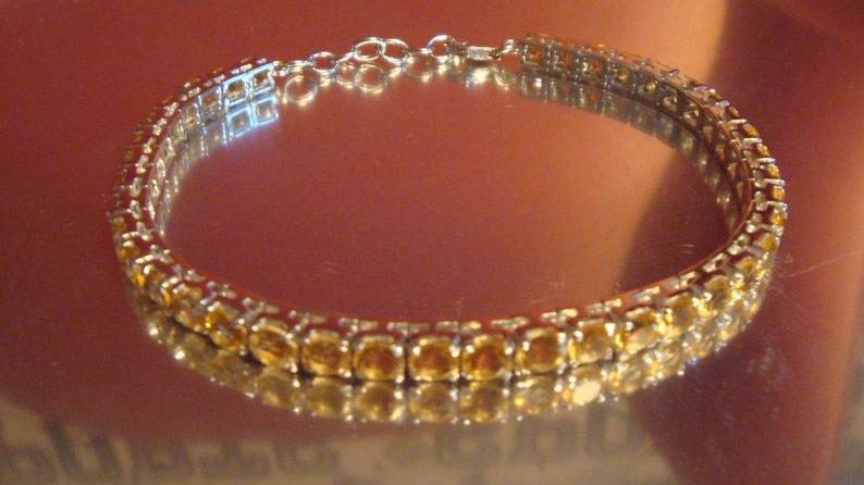 925 Sterling Silver Natural Citrine Tennis Bracelet Stone November Birthstone