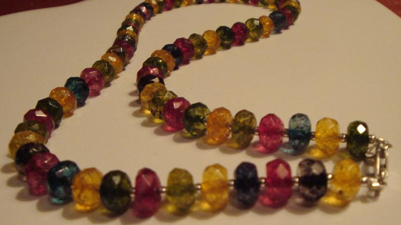 Sterling Silver Glass Bead Necklace Statement Chunky Jewelry for Women Her