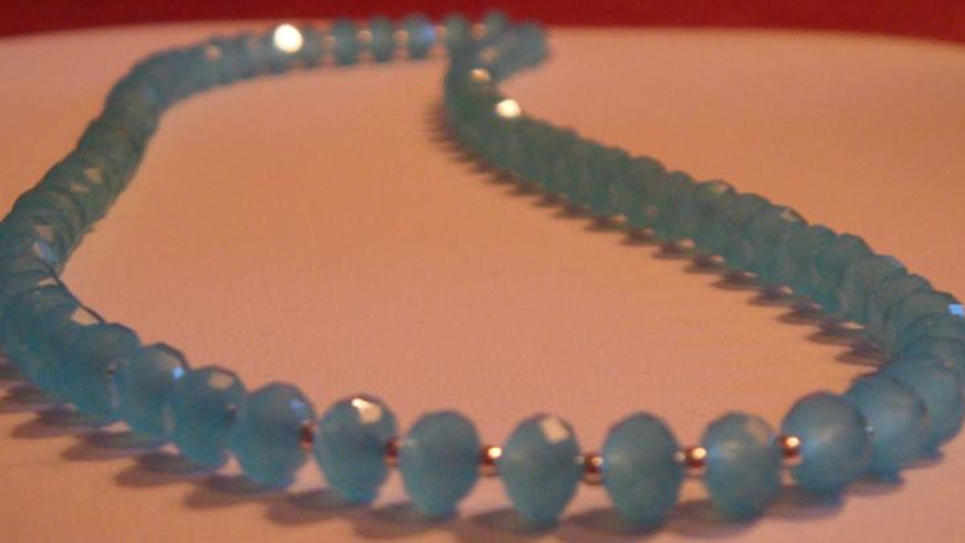 Sterling Silver Blue Glass Bead Necklace Statement Chunky Jewelry for Women Her