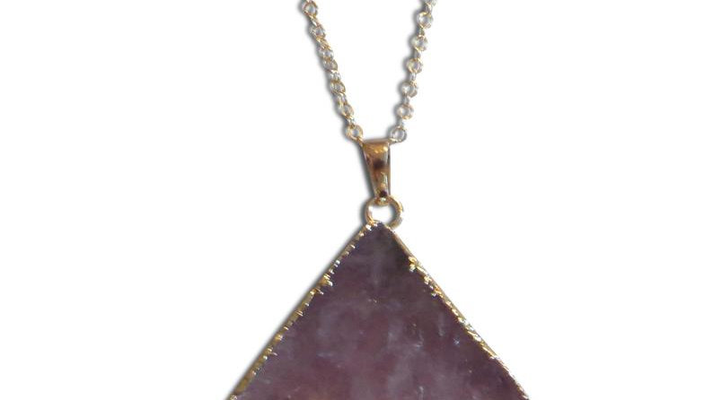 Raw Amethyst Necklace Charm Purple Jewelry Pendant Healing Stone Crystal