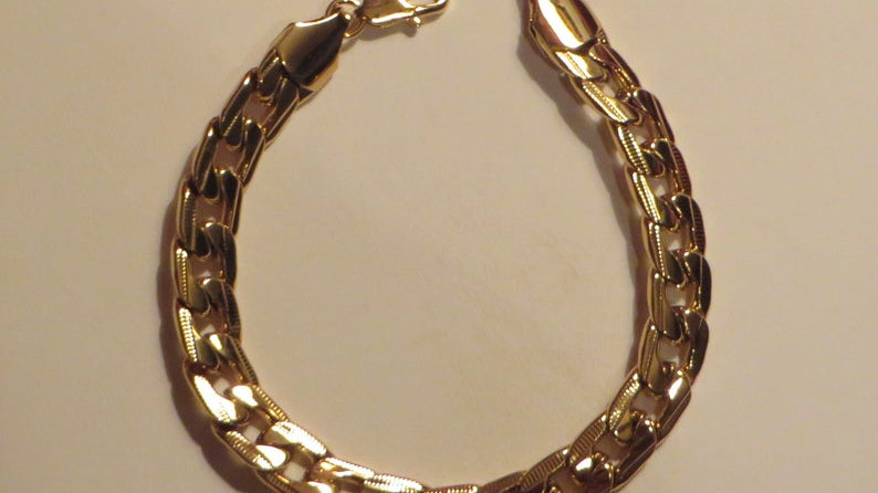 18k Gold Bracelet For Mens Jewellery Jewelry Chain Filled Link
