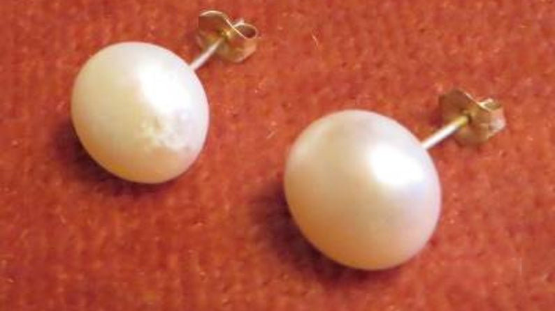 10k Yellow Gold Pearl Earrings Studs Bridal Jewellery