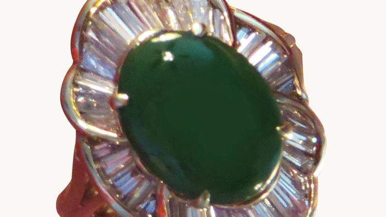 14k Gold Vintage Naural Jadeite Diamond Engagement Ring