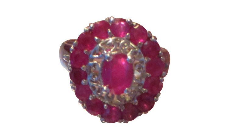 925 Sterling Silver Natural Genuine Ruby Engagement Ring Promise July Birthstone