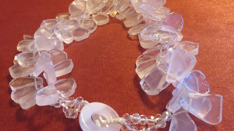 Rock Crystal Necklace Quartz Jewellery Gemstone Healing Crystal Chunky Statement