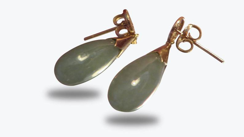 14k Gold Jade Drop Earrings Jewels Real Jewelry Antique Chinese Green Vintage