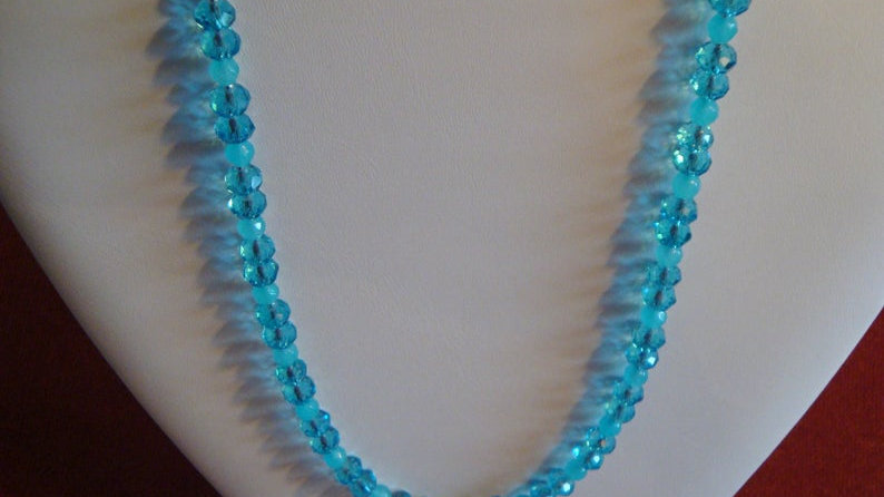 Sky Blue Glass Bead Necklace Jewellery Statement Chunky Jewelry For Women Her