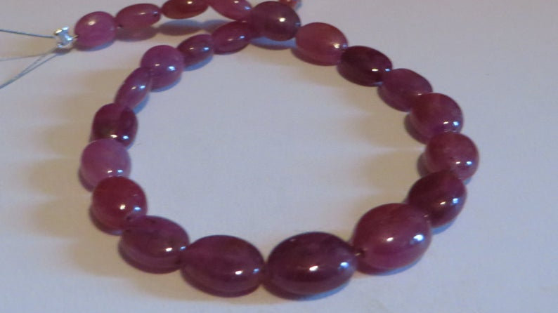 50 Carats Natural Ruby Beads Undyed Gemstone 7.25 Inches Strand African