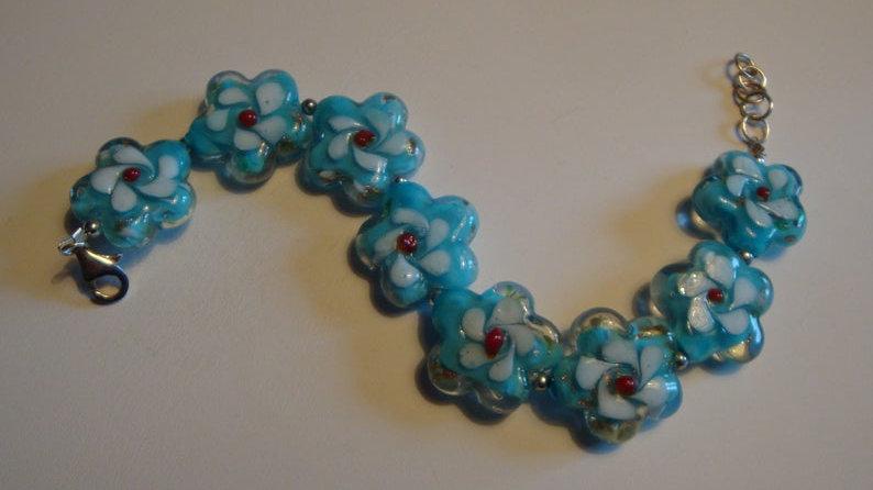 Silver Lampwork Bracelet Glass Bead For Women Her Girlfriend Jewelry
