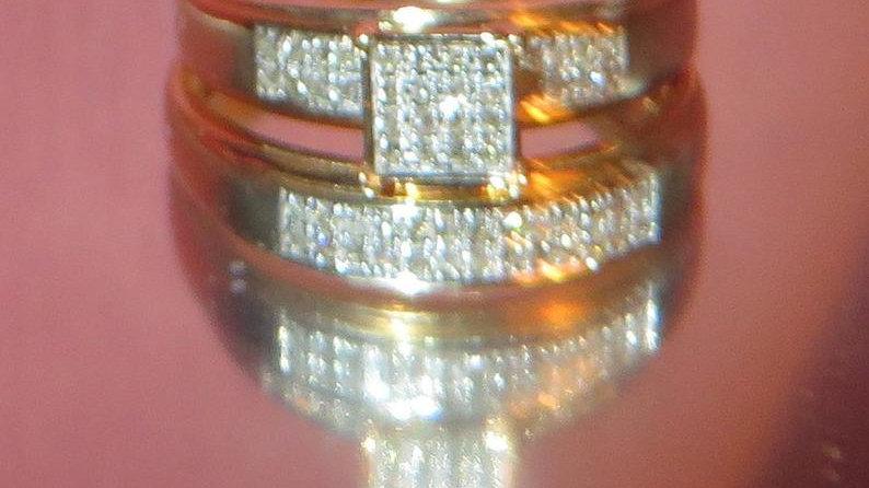 14k Yellow Gold Diamond Engagement Ring Bridal Set Wedding Band for Women