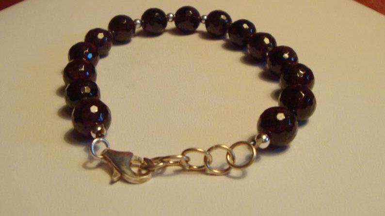 Sterling Silver Red Garnet Bracelet Gemstone Beaded Healing Chakra Energy Stone