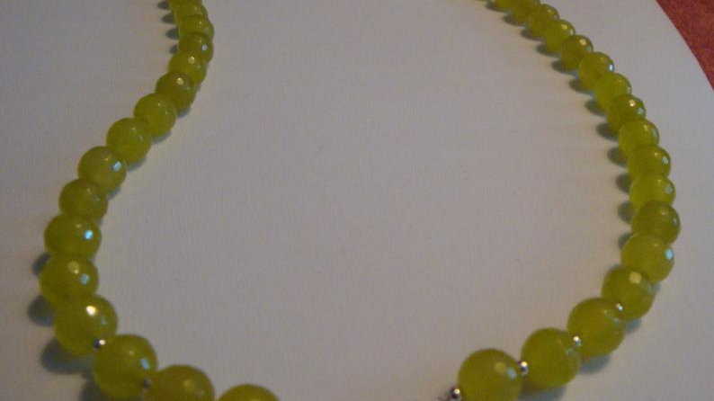 Sterling Silver Green Glass Bead Necklace Statement Chunky Jewelry for Women Her