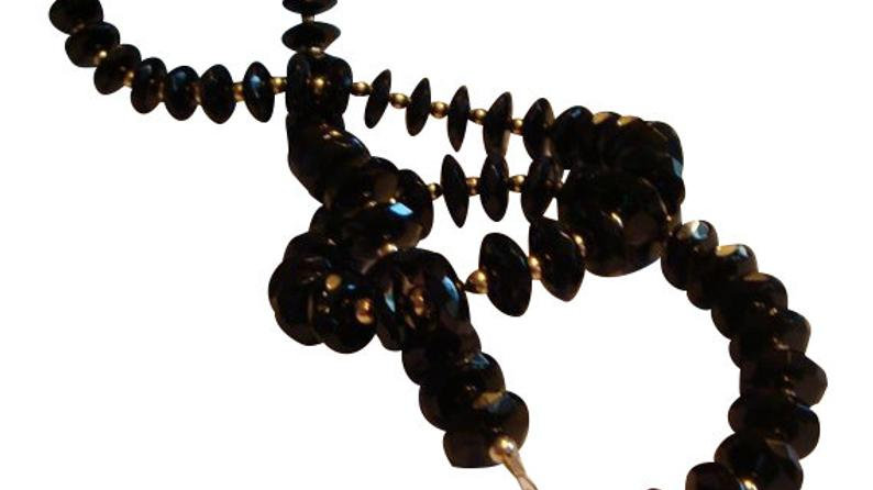 Black Onyx Necklace Gemstone Healing Crystal Statement Beaded Jewelry Stone