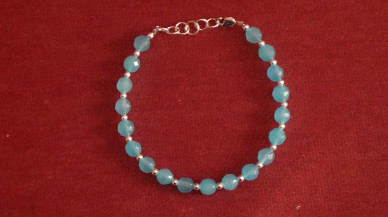 Silver Blue Bracelet Glass Bead For Women Her Girlfriend Jewelry