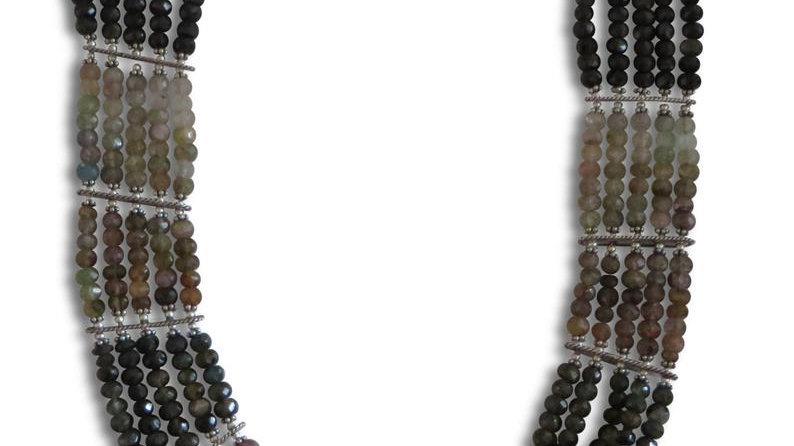 Sterling Silver Tourmaline Necklace Multi Strand Jewelry Statement Chunky Stone