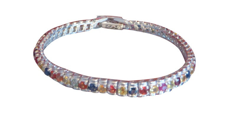 Sterling Silver Natural Mutlicolor Sapphire Bracelet Tennis For Women Real