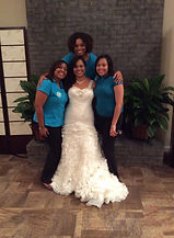 Angela in marital bliss on her wedding day with A&A!