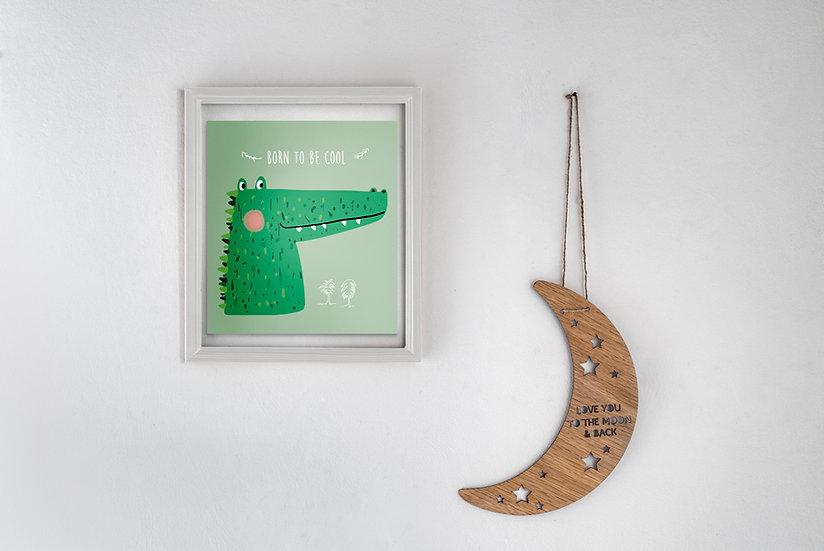 שלט עץ בדוגמת ירח