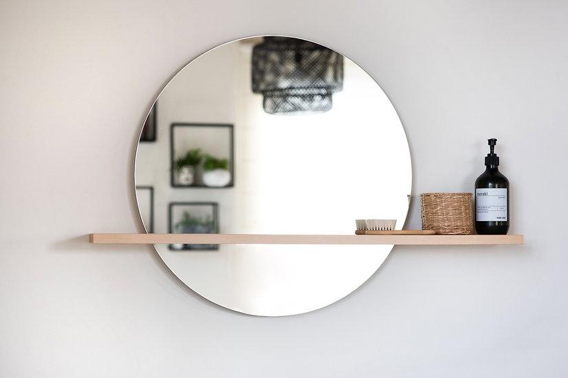 מדף צף מעץ מלא עם מראה עגולה