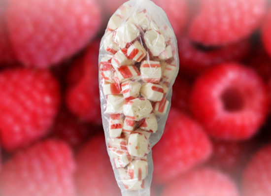 Sour Raspberry Lemonade Polkagris Bites