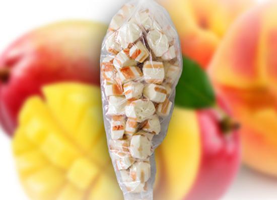 Peach Mango Polkagris Bites