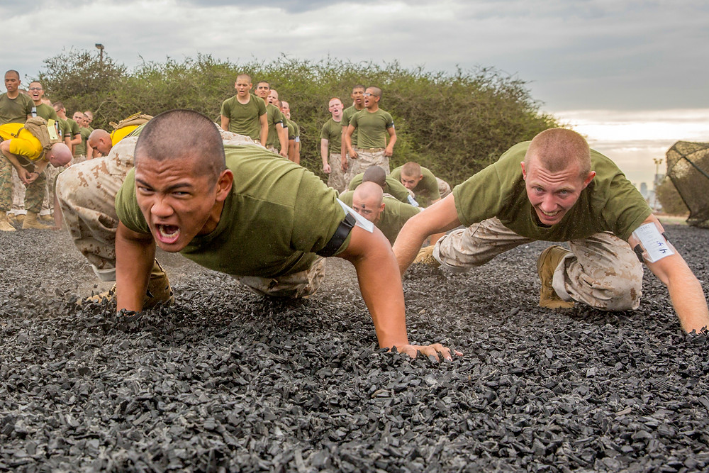 Marines Crawling and Supervising