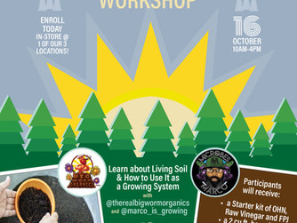 TICKETS NOW ON SALE FOR ORGANIC SOIL BUILDING WORKSHOP-OCTOBER 16TH.