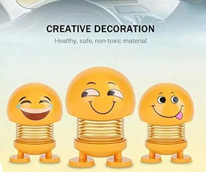 Smiley spring doll for car set of 3 pc