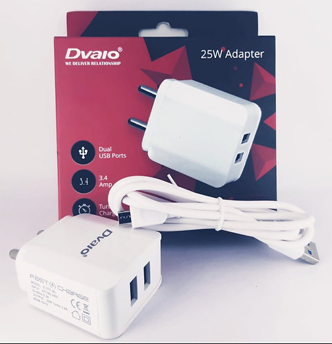 Dvaio 3.4 amp fast charger with cable ( 1 year dock warranty)