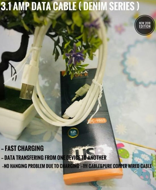 HB 3.1 amp fast charging android data cable