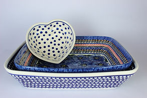 Polish Pottry ovenware, lasagne dishes, heart dish